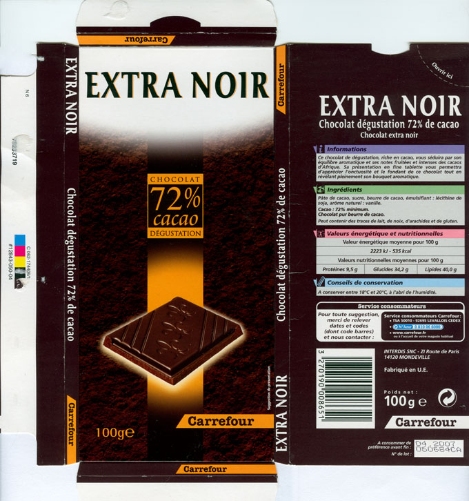 Chocolate Wrapper 2031 France Carrefour 2006