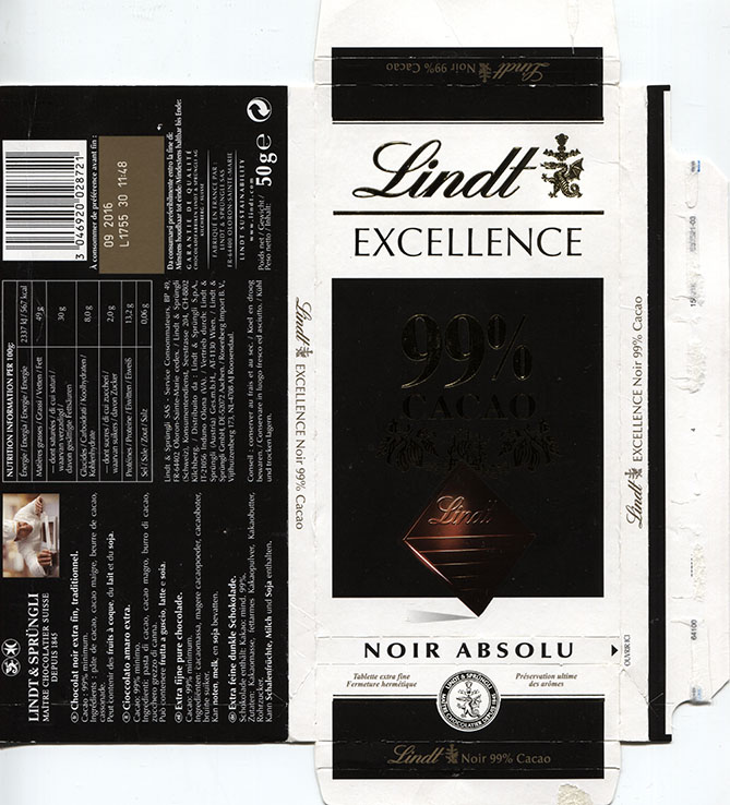 Excellence 99 Cacao Extra Fine Pure Chocolate 50g 092015 Lindt