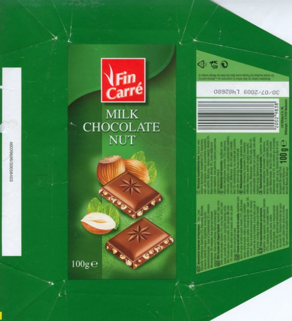 Fin Carre, milk chocolate with chopped hazelnuts, 100g, 30.07.2008, Lidl Stiftung & Co. KG, Neckarsulm, Germany