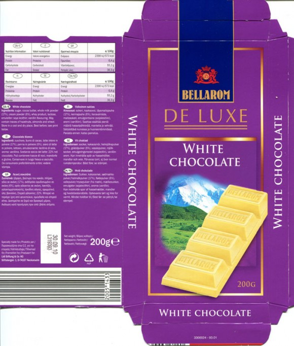 De luxe, white chocolate, 200g, 30.09.2009, Lidl Stiftung & Co. KG, Neckarsulm, Germany