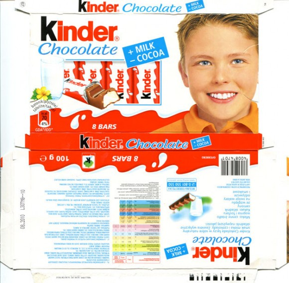 Kinder chocolate, 8 bars, 100g, 08.2010, Ferrero OHG MBH, Stadtallendorf, Germany