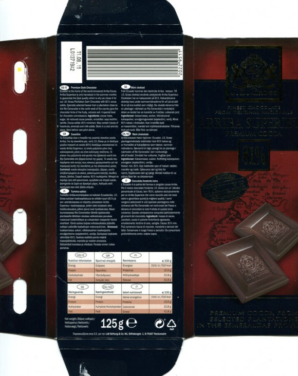 J.D.Gross, dark chocolate 81%, 125g, 11.08.2010, Lidl Stiftung&Co.KG, D-74167 Neckarsulm, Germany