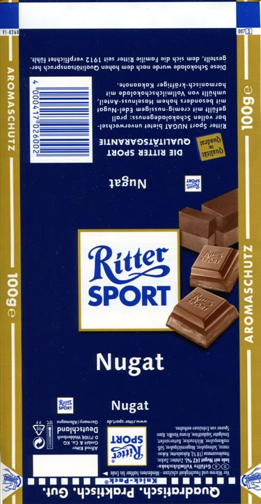 Ritter sport, nugat, milk chocolate with nougat, 100g, Alfred Ritter GmbH & Co. Waldenbuch, Germany