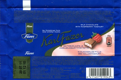 KarlFazer, milk chocolate with raspberry yoghurt, 37g, 01.12.2010, Fazer, Helsinki, Finland