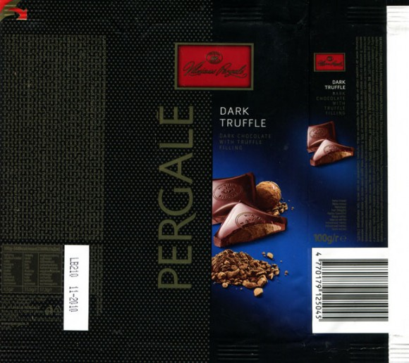 Dark chocolate with truffle filling, 100g, 11.2009, AB Vilniaus Pergale, Vilnius, Lithuania