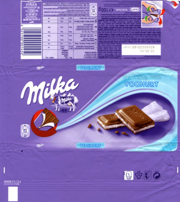 Milka, Alpine milk chocolate withyoghurt filling, 100g, 25.05.2010, Kraft Foods Manufacturing GmbH & Co.KG, Bremen, Germany