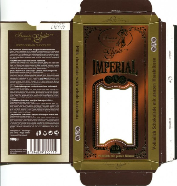 Imperial, milk chocolate with whole hazelnuts, 100g, 09.2011, Elysberg Confiserie BVBA Heusden, Belgium, made in Germany