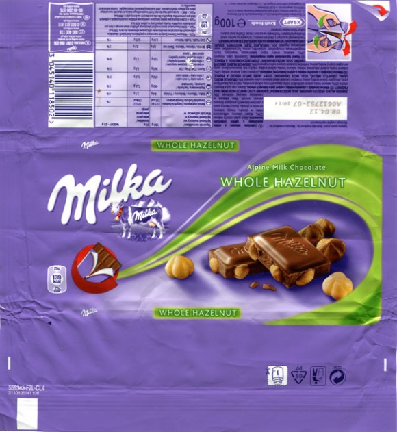 Milka, Alpine milk chocolate with whole hazelnut, 100g, 08.04.2011, Kraft Foods Polska S.A, Warszawa, Poland