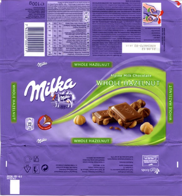 Milka, Alpine milk chocolate with whole hazelnuts, 21.08.2011, Kraft Foods Espana Commercial, S.L., Madrid, made in Germany