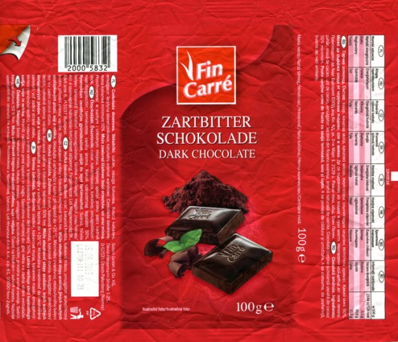 Fin Carre, dark chocolate, 100g, 11.12.2012, Lidl Stiftung&Co.KG, D-74167 Neckarsulm, Germany