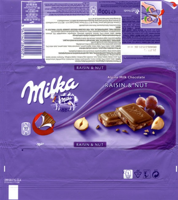 Milka, Alpine milk chocolate with raisins and nuts, 100g, 21.03.2012, Kraft Foods Polska S.A, Warszawa, Poland