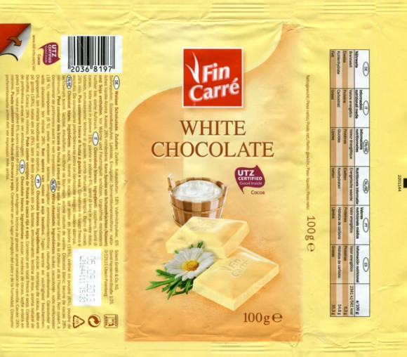 FinCarre, white chocolate, 100g, 05.09.2012, Lidl Stiftung&Co.KG, Neckarsulm, Germany