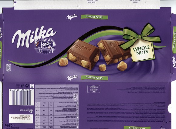 Milk chocolate with whole hazelnuts, 250g, 29.10.2013, Kraft Foods CR s.r.oPraha -8 Karlin, Czech Republic