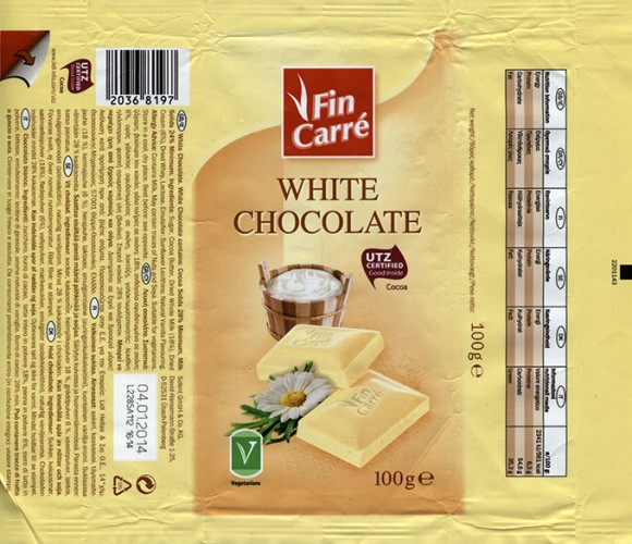 Fin Carre, white chocolate, 100g, 18.09.2013, Lidl Stiftung&Co.KG, Neckarsulm, Germany