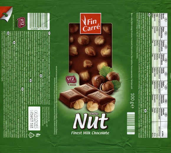 FinCarre, milk chocolate with whole nuts, 100g, 06.10.2014, Solent GmbH & Co. KG, Ubach-Paleberg, Germany