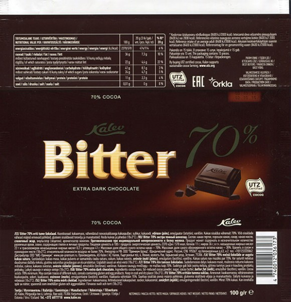 Bitter, extra dark chocolate, 100g, 03.03.2016, AS Kalev, Lehmja, Estonia