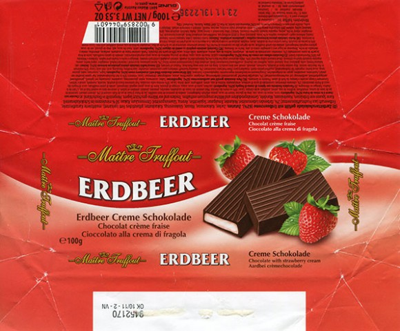Erdbeer, chocolate with strawberry cream , 100g, 23.11.2012, Gunz, Mader, Austria