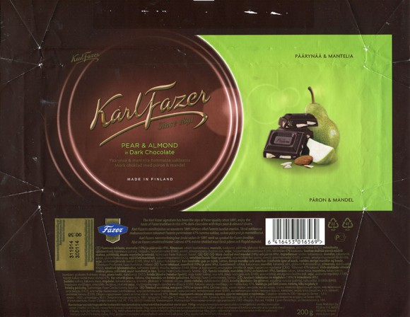 Dark chocolate with pear and almond, 200g, 30.01.2014, AS Kalev, Lehmja, Estonia