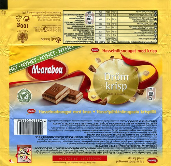 Marabou, mailk chocolate with nougat filled, 100g, 24.02.2013, Kraft Foods Sverige, Angered, Sweden