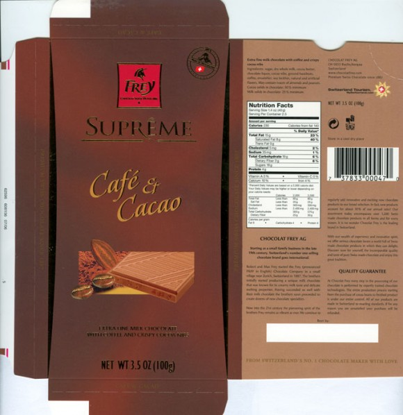 Cafe et Cacao, extra fine milk chocolate with coffee and crispy cocoa nibs, 100g, Chocolat Frey AG, Buchs/Aargau , Switzerland