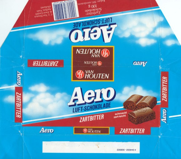 Aero Luft-schokolade, aerated dark chocolate, 100g, 1980, Van Houten &Zoon GmbH, Quickborn, Germany