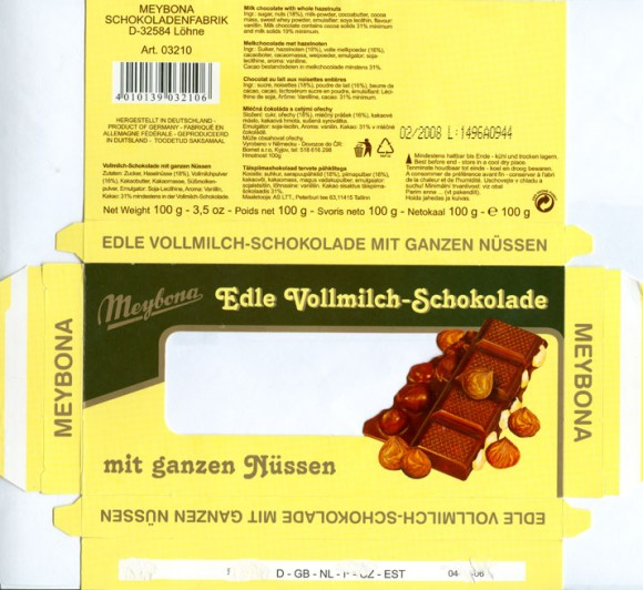 Milk chocolate with whole hazelnuts, 100g, 02.2007, Meybona Schokoladefabrik, Lohne-Bischofshagen, Germany