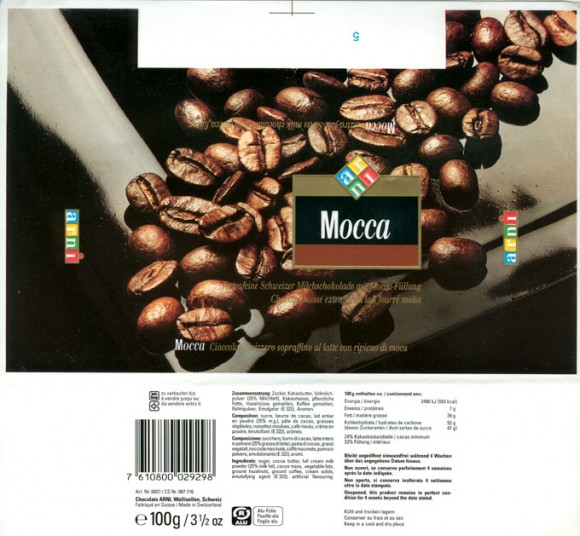 Mocca, extra-fine swiss milk chocolate with mocca filling, 100g, Chocolats Arni, Wallisellen, Switzerland