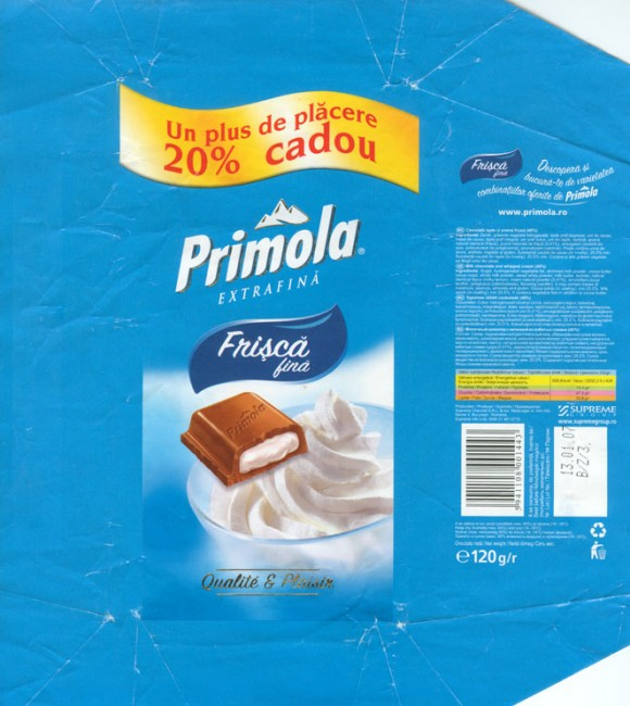 Primola, frisca fina, milk chocolate and whipped cream 40%, 120g, 13.01.2006, Supreme chocolat S.R.L, Bucharest, Romania