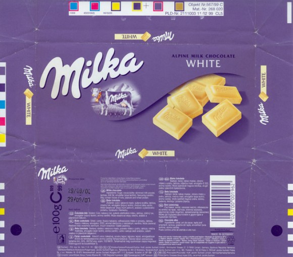 White chocolate, 100g, 29.09.2000, Kraft Foods Germany, Milka, Bremen, Germany