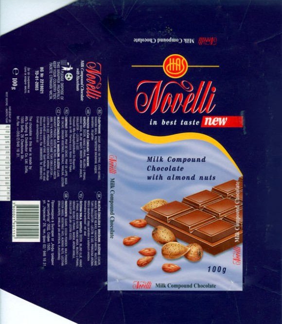 Novelli, milk compound chocolate with almond nuts, 100g, 09.2003, Alfa Trading & Distributor Co. Ltd. Sofia, Bulgaria