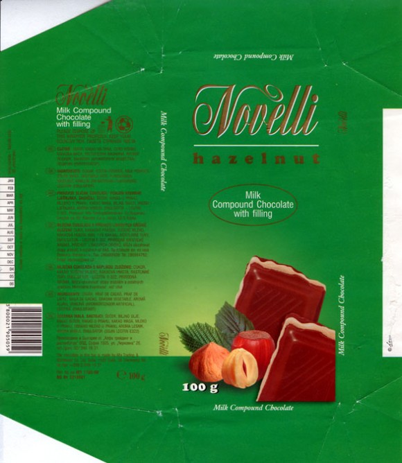 Novelli, milk compound chocolate with hazelnuts filling, 100g, 10.2003, Alfa Trading & Distributor Co. Ltd. Sofia, Bulgaria