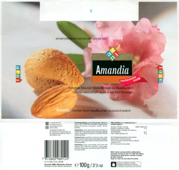 Amandia, extra-fine swiss milk chocolate with chopped almonds, 100g, Chocolats Arni, Wallisellen, Switzerland