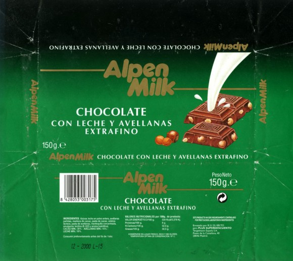Alpen milk, milk chocolate with whole hazelnuts, 150g, 12.2000, Plus Superdescuento, Madrid, Spain