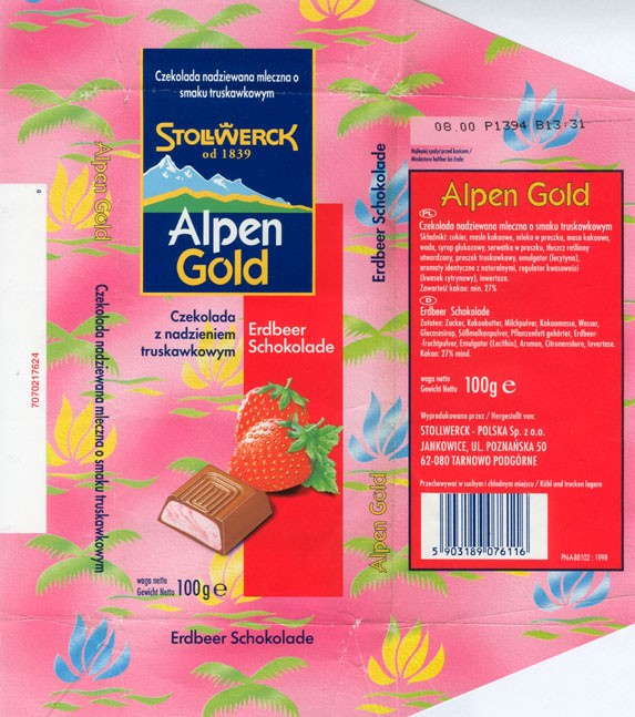 Alpen Gold,milk chocolate with strawberry cream filling, 100g, 08.1999, Stollwerck-Polska Sp. z o.o., Jankowice, Tarnowo Podgorne, Poland