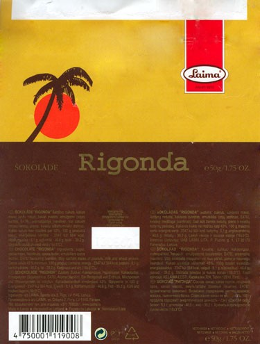 Rigonda, milk chocolate, 50g, 13.05.2006, AS Laima, Riga, Latvia