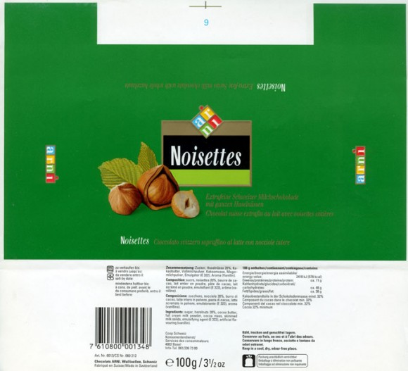 Noisettes, extra-fine swiss milk chocolate with whole hazelnuts, 100g, Chocolats Arni, Wallisellen, Switzerland