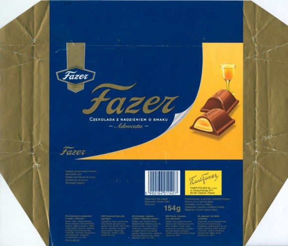 Fazer Advocatu, milk chocolate filled with egg-liquor, 154g, 2000, Fazer Polska Sp. z o.o., Gdansk, Poland