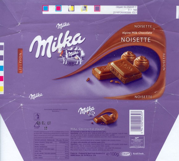 Milka, alpine milk chocolate with hazelnuts paste 13%, 100g, 08.02.2006, Kraft Foods Romania S.A., Brasov, Romania