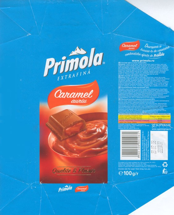 Primola, caramel auriu, milk chocolate with caramel cream, 100g, 23.03.2007, Supreme chocolat S.R.L, Bucharest, Romania