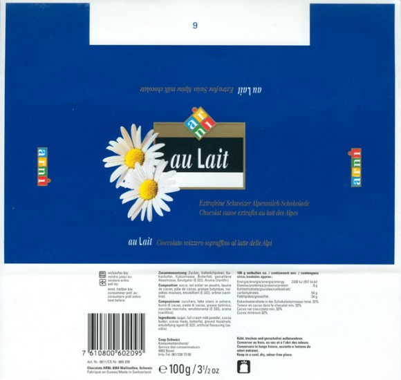 au Lait, extra-fine swiss alpine milk chocolate, 100g, Chocolats Arni, Wallisellen, Switzerland