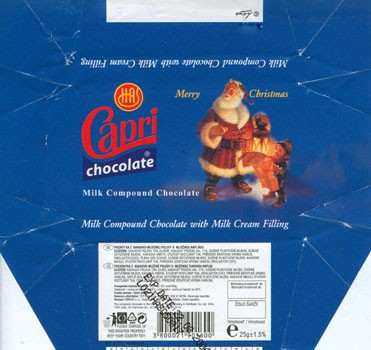 Capri, Merry Christmas, milk compound chocolate with milk cream filling, 25g, 22.06.2006, Alfa Trading & Distributor Co. Ltd. Sofia, Bulgaria