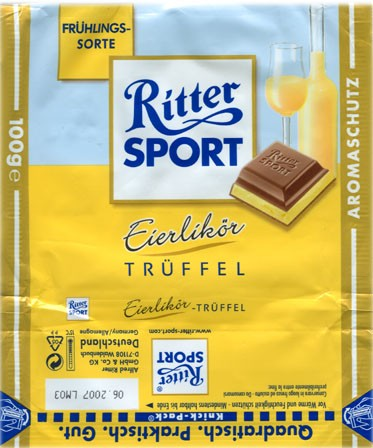 Ritter sport, milk chocolate with eggliquor filled, 100g, 10.2006, Alfred Ritter GmbH & Co. Waldenbuch, Germany