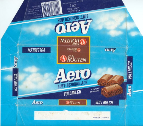 Aero Luft-schokolade, aerated milk chocolate, 100g, 1980, Van Houten &Zoon GmbH, Quickborn, Germany
