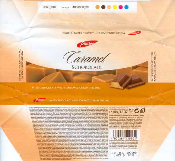 Milk chocolate with caramel cream filling, 100g, 12.04.2007, Piasten GmbH&Co.KG, Forchheim, Germany