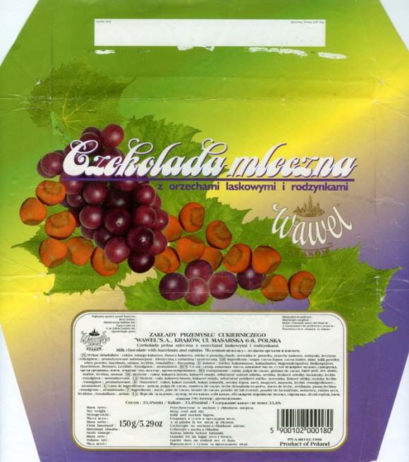 Milk chocolate with raisins and nuts, 150g, 20.01.2000, Wawel S.A., Krakow, Poland