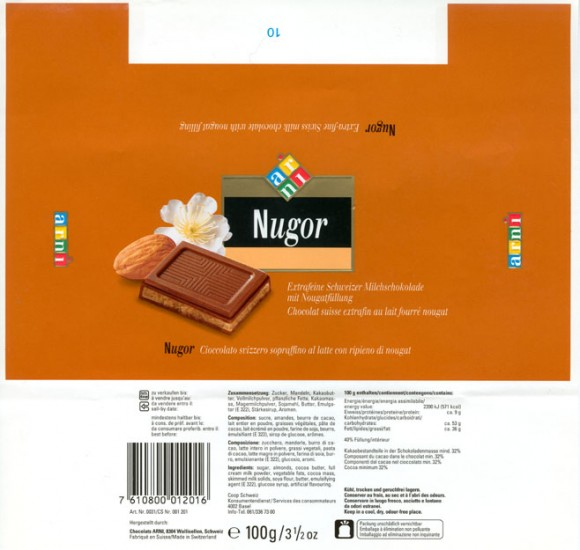 Nugor, extra-fine swiss milk chocolate with nougat filling, 100g, Chocolats Arni, Wallisellen, Switzerland
