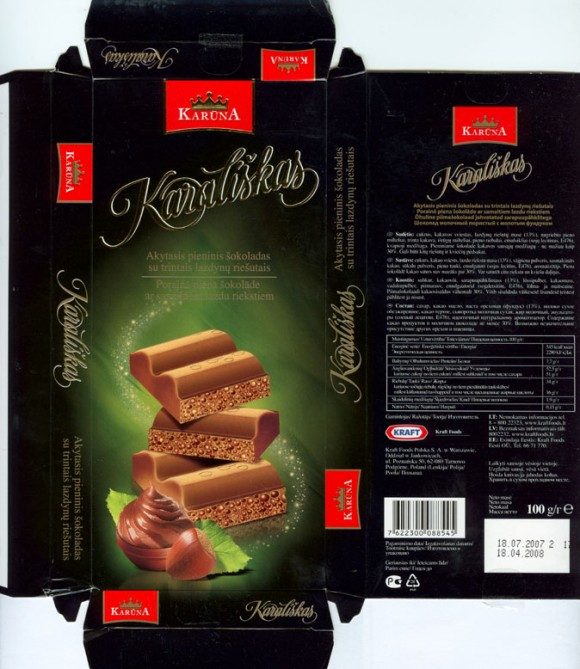Karaliskas, milk chocolate with air crumble hazelnuts, 100g, 18.07.2007, Kraft Foods Polska S.A, Jankowice, Tarnowo Podgorne, Poland