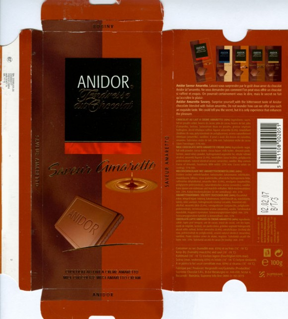 Anidor, Tendresse du Chocolat, Saveur Amaretto, milk chocolate with amaretto cream, 100g, 02.02.2006, Supreme chocolat S.R.L, Bucharest, Romania