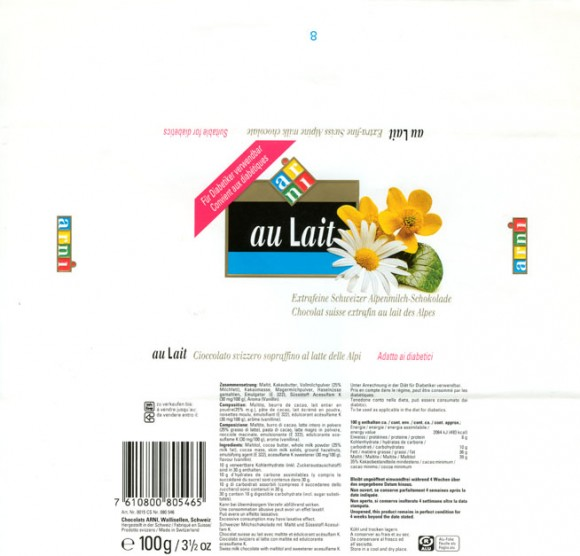 au Lait, extra-fine swiss alpine milk chocolate, suitable for diabetics, 100g, Chocolats Arni, Wallisellen, Switzerland