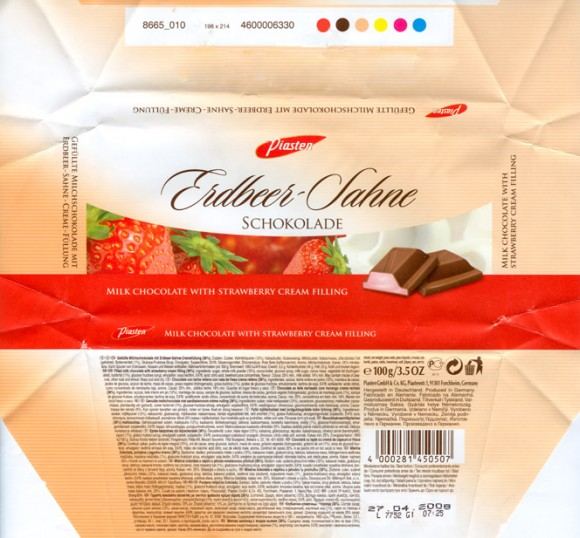 Milk chocolate with strawberry cream filling, 100g, 27.04.2007, Piasten GmbH&Co.KG, Forchheim, Germany